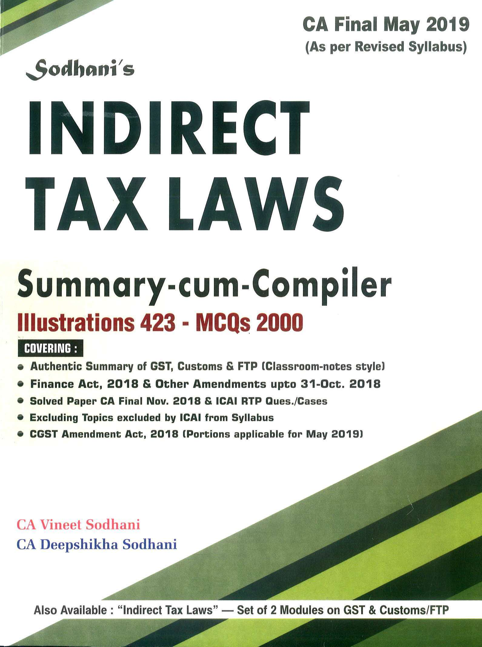 Buy IDT Bangar for CA Final indirect tax law For Nov  2019 BY